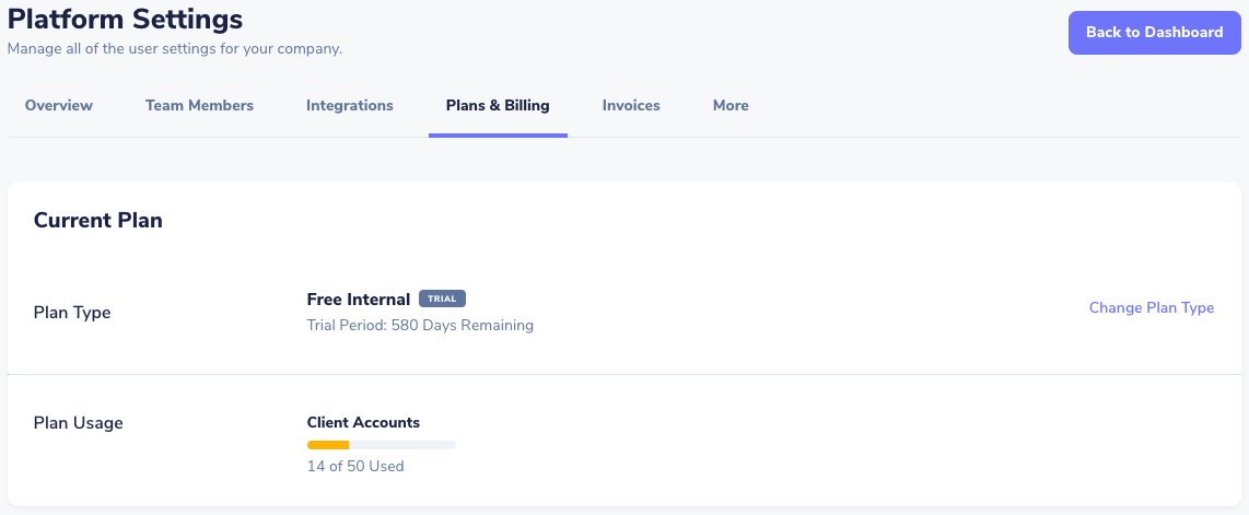 plans and billing within platform settings